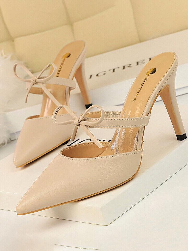 Sandali decolte ciabatte  sabot pelle sintetica eleganti stiletto 9 panna cw187