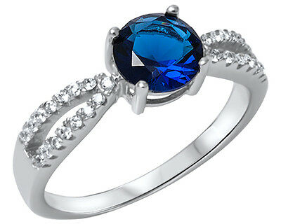 .925 Sterling Silver Round Blue Sapphire CZ Split Accent Ring RC912