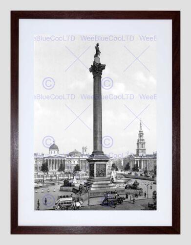 Londra Trafalgar Square E GALLERIA NAZIONALE INGHILTERRA Old BW incorniciato stampa b12x284 Poster