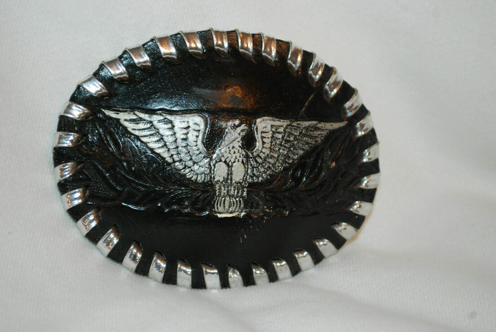 Amazing Leather Over Silver Tone Belt Buckle With Eagle Etched