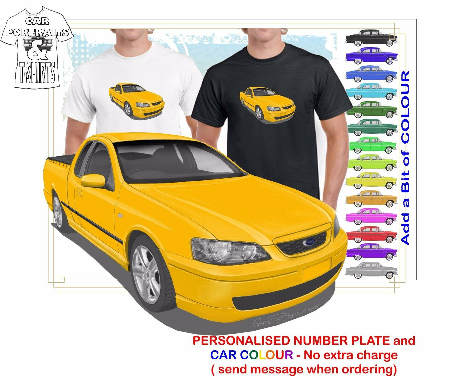 CLASSIC 2002-07 BA FALCON UTE ILLUSTRATED T-SHIRT MUSCLE RETRO SPORT CAR