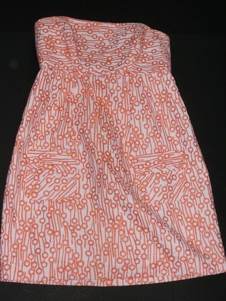 Milly New York damen Sz 10 Dress Strapless Sundress Orange Rosa Geometric Mini