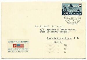 Luchtpost 1e vlucht Genève Cointrin New York La Guardia Field Swissair 2-5-1947