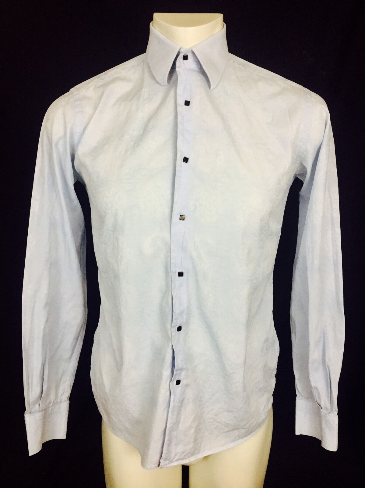 Karl Lagerfeld Damask Floral Copper Snap Men's Dress Shirt Size 38 bluee