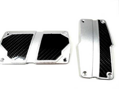Real Carbon Fiber Silver Aluminium Sport Pedal Brake Pad Covers Auto Car 2PC