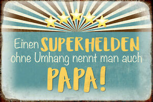 Superhero Without Cape Papa Tin Sign Shield Arched 20 X 30 CM R0352