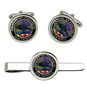 Macdonell-of-Glengarry-Scottish-Clan-Cufflinks-and-Tie-Clip-Set