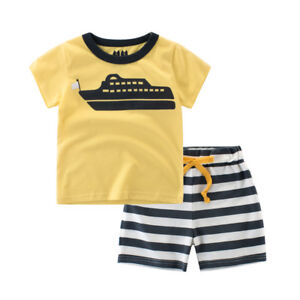 Baby-Kids-Boy-Tee-T-shirts-Shorts-Cotton-Beach-Outfit-2PC-Ship-Print-2Y-8Y