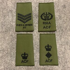 BRITISH-ARMY-OLIVE-GREEN-ACF-RANK-SLIDES-SERGEANT-WO2-MAJOR-LIEUTENANT-COLONEL