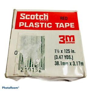 """3M SCOTCH Red Colored Plastic Tape for Repair and ID, 1.5"""" x 125"""", 3.47 yds NEW"""