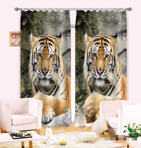 3D Two Tiger Blockout Photo Curtain Printing Curtains Drapes Fabric Window AU