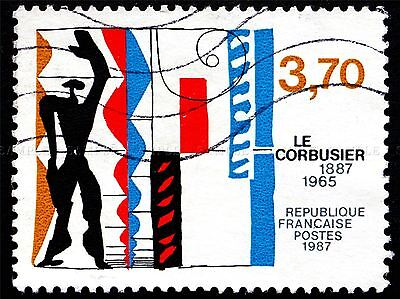 POSTAGE STAMP FRANCE 1987 WORKS OF LE CORBUSIER VINTAGE ART PRINT BMP2197A