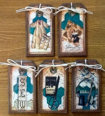 5 Handcrafted Wooden PRIM Ornaments//HangTags//Bowl Fillers SET78