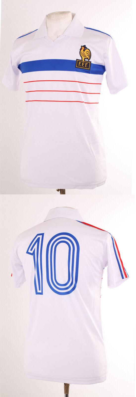 FRANCE EURO 84 1984 RETRO WHITE AWAY PLATINI 10 FOOTBALL MAILLOT SHIRT XXL