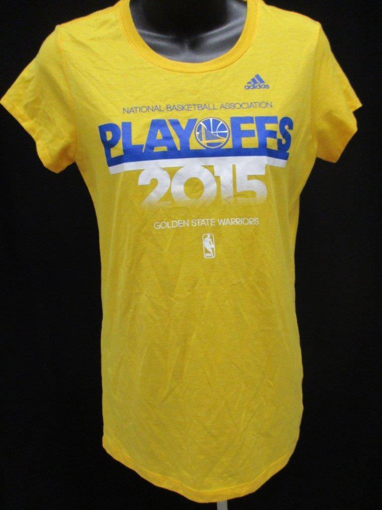 Nueva camiseta Adidas de color amarillo dorado para mujeres, talla M, tamaño medio de Golden State Warriors