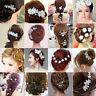 Be Crystal Rhinestone Wedding Flower Pearls Hair Clip Hair Comb For Women Bridal