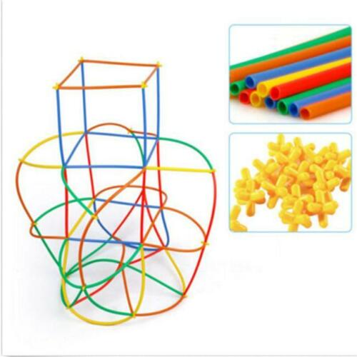 Trendy 100Pcs Boys Girls Kids Straw Joint Building Blocks Development Funny Toys