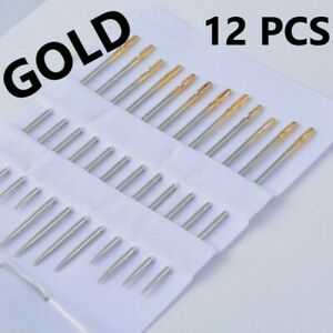 12 SELF THREADING SEWING NEEDLES EASY THREAD ASSORTED SIZES