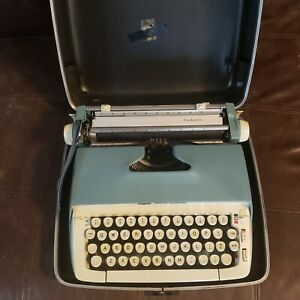 smith corona galaxie typewriter blue