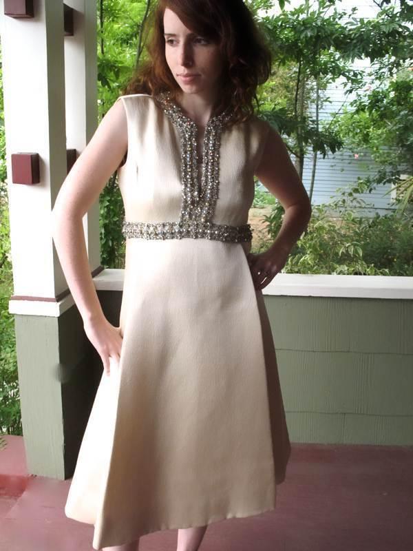 Ceil Chapman Dress VTG 60s Metallic Silk Aurora B… - image 9