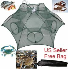 Foldable Crab Net Trap Cast Dip Cage Fishing Bait Fish Minnow Crawfish Shrimp SP