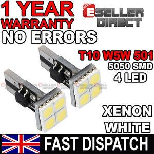 2x-T10-W5W-501-4-SMD-5050-Led-Luz-Lateral-Canbus-Coche-Sin-Error-Xenon-Blanco-Bombillas