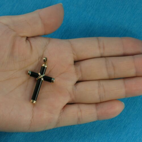 Details about  /Hand Crafted Tube Black Onyx Popular Cross 14k Solid Yellow Gold Pendant TPJ