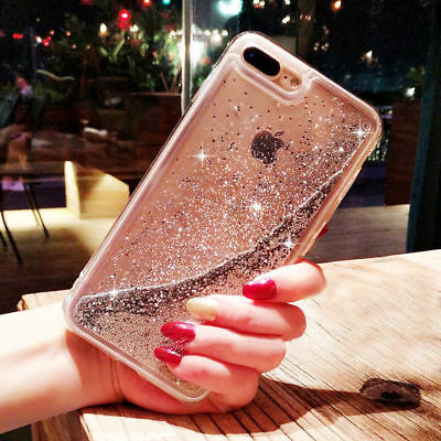 Dynamic Liquid Glitter Quicksand Clear Hard Phone Case For iPhone X 8 7 6S Plus