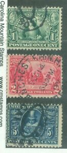 US-328-329-330-1c-2c-5c-ISSUED-1907-CANCELLED-BOOK-VALUE-59-50