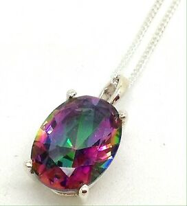 Mystic-Topaz-Faceted-Oval-Pendant-Solid-Sterling-Silver-On-Chain-14-X-10mm