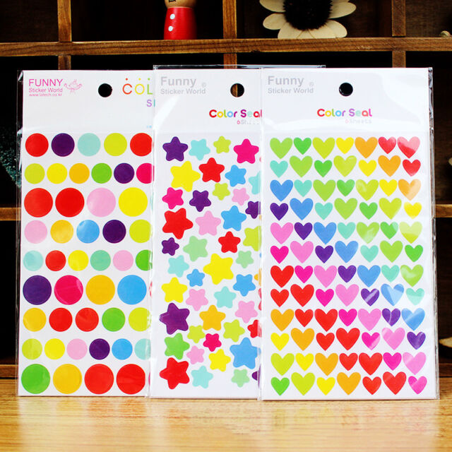 6 Pcs Colorful Rainbow Sticker Diary Planner Journal Scrapbook Albums Photo DIY