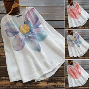 ZANZEA-Women-Long-Sleeve-V-Neck-Floral-Print-Shirt-Tops-Asymmetrical-Blouse-Plus