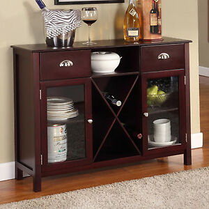 Details About Buffet Cabinet Hutch Dining Kitchen Server Furniture Wine Rack Sideboard Table