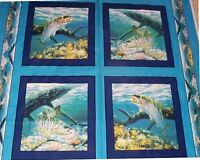 4 Fish Anglers Delight Pillow Panels Fabric Cotton Wildlife Quilt Sew