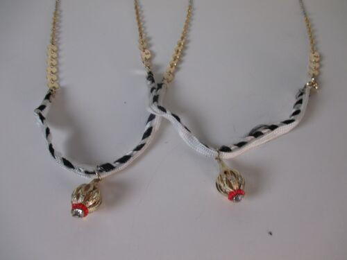 Anthropologie BLK WHITE Ribbon Gold Pendant Long Necklace NWOT $39 set of 8
