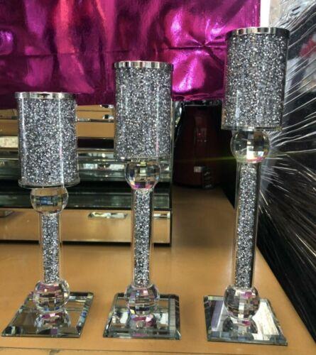 Écrasé Diamond Bougeoir set de 3 Brillant Argent Cristal Swarovski Element