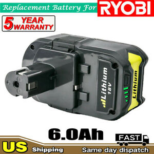 New For Ryobi P108 18V Lithium Battery ONE+ Plus P102 P103 P104 P105 P107 6.0Ah