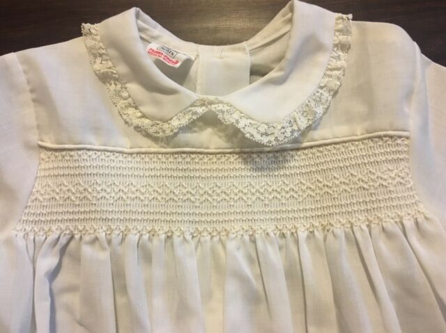 539f18e034f Vintage Sheer White Girl Dress Smocked Size 6 Lace Sears Communion ...