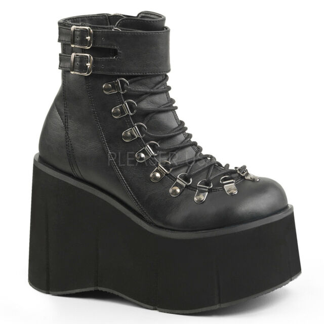 Demonia KERA 21 Women's Punk Goth Black Vegan Platform Faux Lace Up Ankle Boot