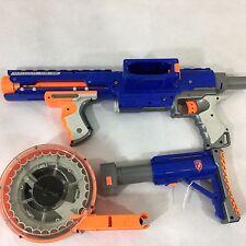 NERF Raider CS-35 Blue N-Strike Dart Gun Blaster Ammo Drum Tommy Shoulder Stock