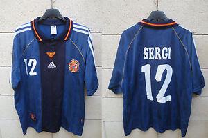 Maillot-ESPAGNE-vintage-ADIDAS-ESPANA-SPAIN-camiseta-SERGI-n-12-away-shirt-L