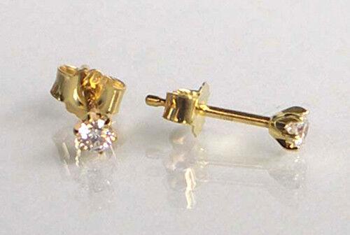 ECHT GOLD *** 1 Paar Zirkonia Ohrstecker wählbar in 2,5-3-3,5-4-4,5-5,5 mm Ø