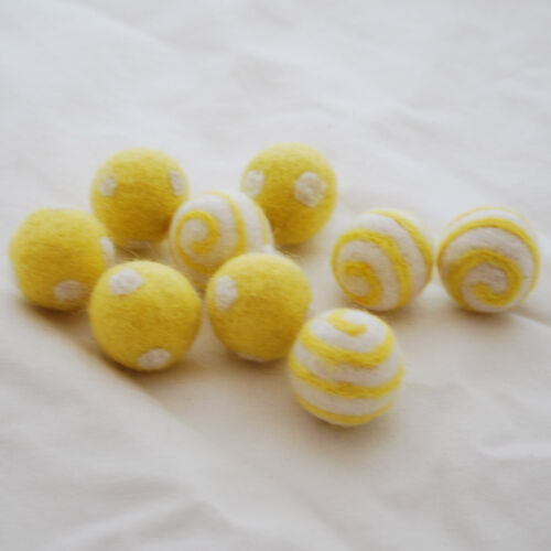 100/% Wool Felt Balls 10 Swirl // Polka Dots Felt Balls 2.5cm Yellow