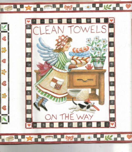 ANGELS KEEPING CLEAN COUNTRY STYLE WALLPAPER BORDER RC005132B