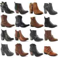 WOMENS LADIES BLOCK CHUNKY PLATFORM HEEL CHELSEA CUT OUT ANKLE BOOTS SHOES SIZE