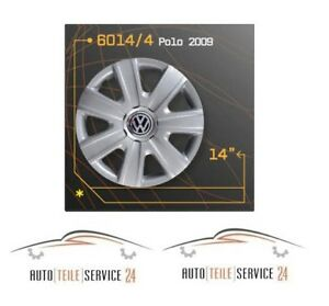 4x-italienische-Radkappen-Radkappensatz-14-Zoll-Felgen-VW-Polo-2009-Grau