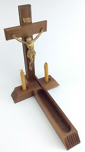 Vintage-Wooden-Cross-Crucifix-Candles-Stand-Last-Rites-Slide-Compartment-I729