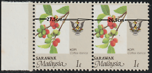 MALAYSIA 1986 SARAWAK AGRO BASED 1c PAIR STAMPS DIFFERENT SIZE 2 ERROR STAMPS