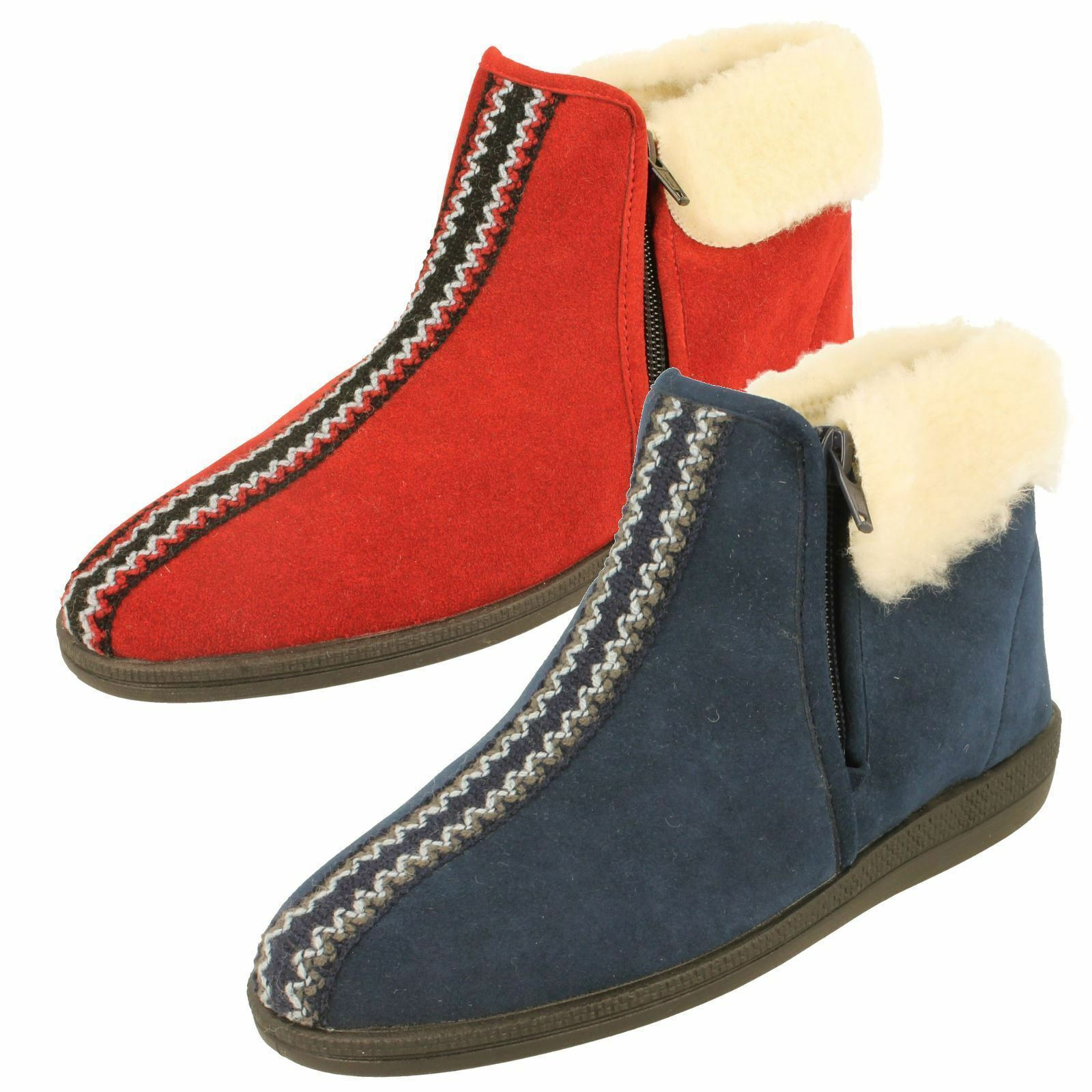 Ladies Rohde Warm Lined Bootie Slippers Zip Fastening - 2178