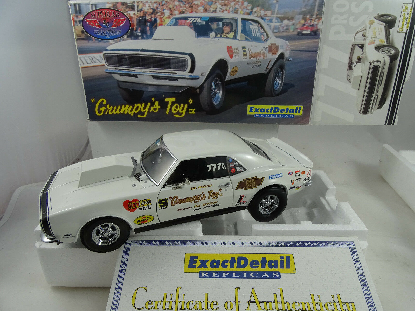 1 18 Exact Detail  227 Bill Jenkins 'Drag 1967 CAMARO GRUMPY'S TOY White Rarity §